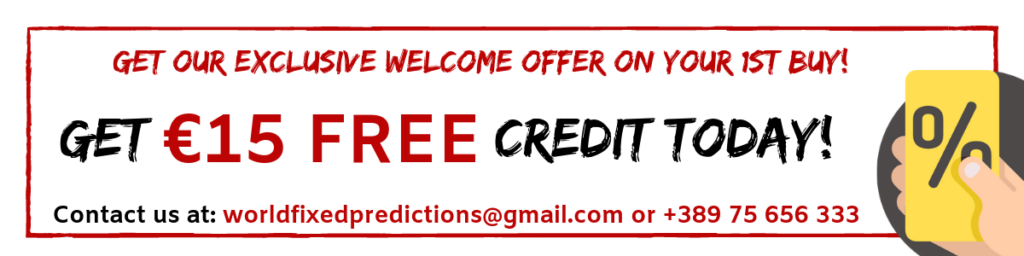 discount for fixed matches and free credit for the first buy from the world's best fixed predictions website